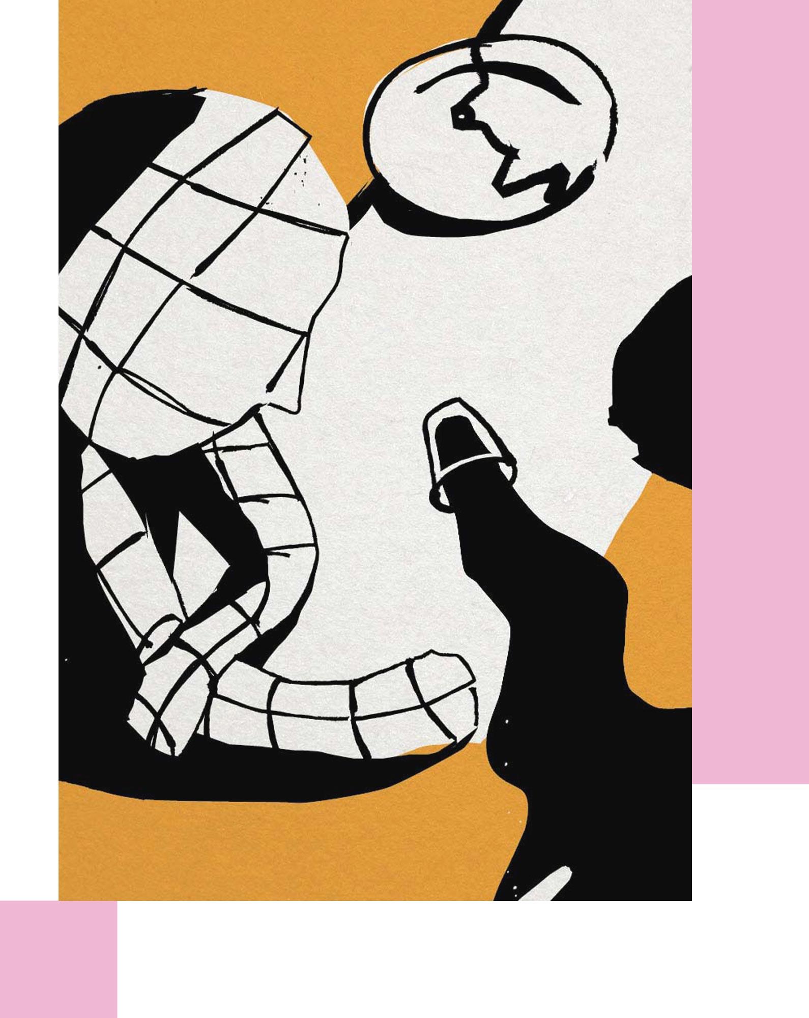 Illustratie uit Vijf draken verslagen, door Kristof Devos